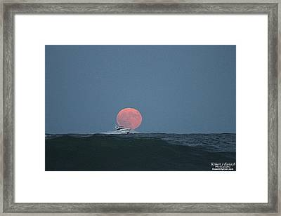 Cruising On A Wave During Harvest Moon Framed Print