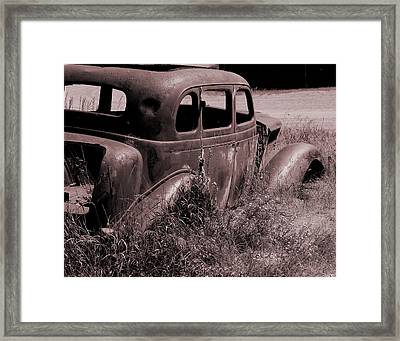 Framed Print featuring the photograph Crumbling Car by Kae Cheatham