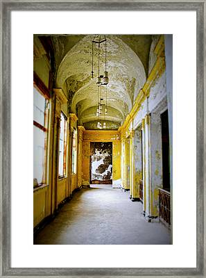 Crumbling Cathedral Corridor Framed Print by Keith Rousseau