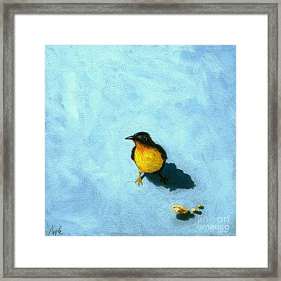 Crumbs -bird Painting Framed Print