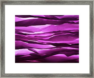 Crumpled Sheets Of Purple Paper. Framed Print by Ballyscanlon