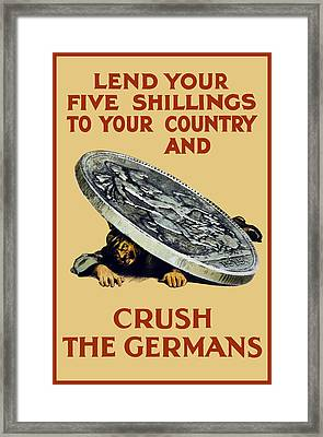 Crush The Germans - Ww1 Framed Print