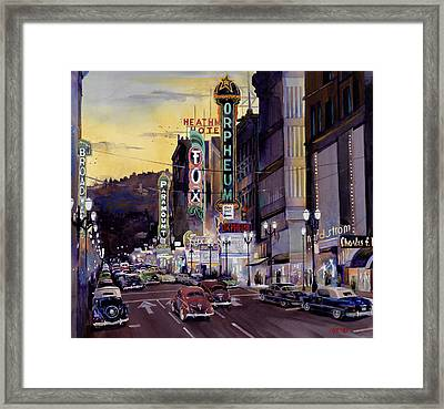 Crusin' Broadway In The Fifties Framed Print by Mike Hill