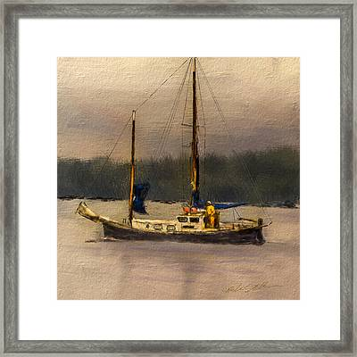 Framed Print featuring the digital art Crusing The Sound by Dale Stillman