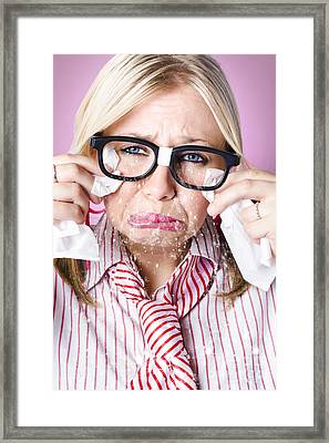 Cry Baby Businesswoman Crying A Waterfall Of Tears Framed Print by Jorgo Photography - Wall Art Gallery