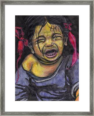 Framed Print featuring the pastel Cry Baby Cry by Jean Haynes