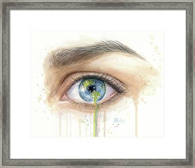Crying Earth Eye Framed Print by Olga Shvartsur