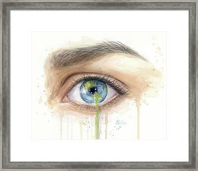 Crying Earth Eye Framed Print
