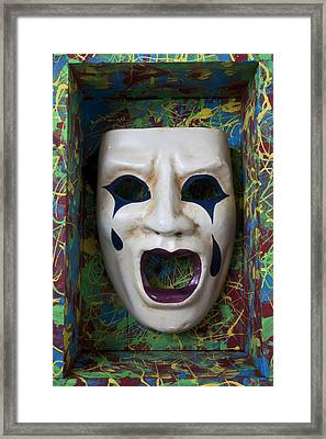 Crying Mask In Box Framed Print by Garry Gay