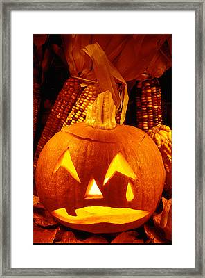 Crying Pumpkin Framed Print by Garry Gay