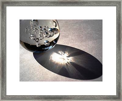 Crystal Ball With Trapped Air Bubbles Framed Print