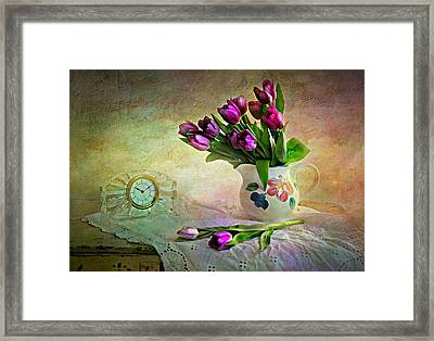 Crystal Clock With Tulips Framed Print
