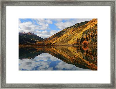 Framed Print featuring the photograph Crystal Lake Autumn Reflection by Jetson Nguyen