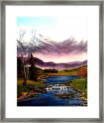 Crystal Lake With Snow Capped Mountains Framed Print