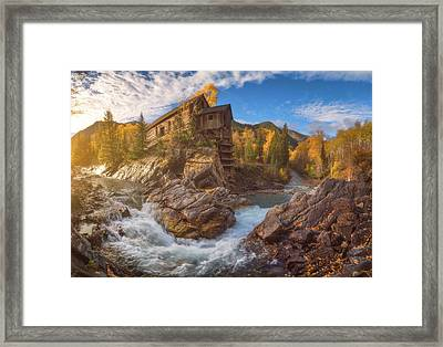 Crystal Mill Fall Sunrise Framed Print by Darren White