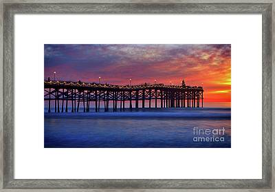 Crystal Pier In Pacific Beach Decorated With Christmas Lights Framed Print