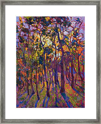 Framed Print featuring the painting Crystal Pines by Erin Hanson