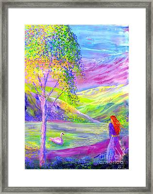 Crystal Pond, Silver Birch Tree And Swan Framed Print
