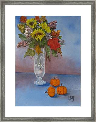 Crystal Vase Of Sunflowers Framed Print