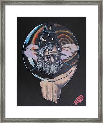 Framed Print featuring the drawing Crystal Wizard by Michael  TMAD Finney