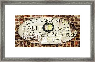 C.s. Clark Vintage Sign Framed Print by Hal Halli
