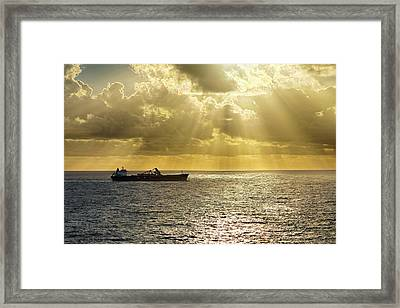 Framed Print featuring the photograph Csl Spirit At Sunrise - Caribbean Ocean - Seascape - Ship by Jason Politte