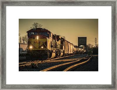 Csx Q555 Departs Doyle Yard At Owensboro, Ky Framed Print by Jim Pearson