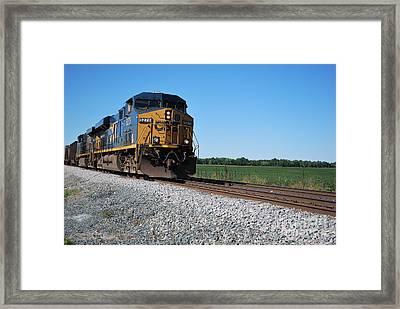Csx Train Engine Framed Print by Pamela Baker