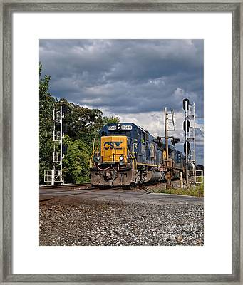 Csx Train Headed West Framed Print by Pamela Baker
