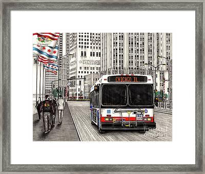 Cta Bus On Michigan Avenue Framed Print
