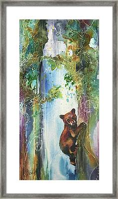 Framed Print featuring the painting Cub Bear Climbing by Christy Freeman