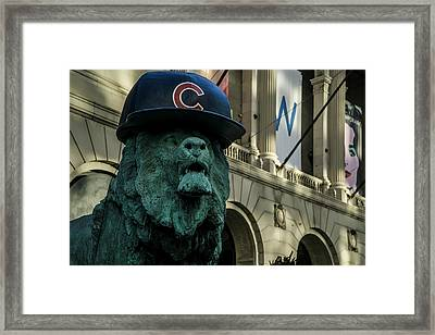 Cub Hat On Art Institute Lion Telephoto Framed Print by Sven Brogren