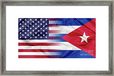 Cuba And Usa Flags Framed Print
