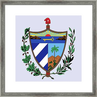 Framed Print featuring the drawing Cuba Coat Of Arms by Movie Poster Prints