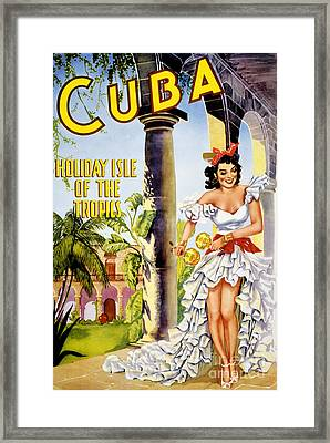 Cuba Holiday Isle Of The Tropics Vintage Poster Framed Print by Carsten Reisinger