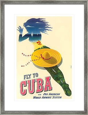 Cuba Holiday Isles Of The Tropics Vintage Airline Travel Poster By Julius Seyler  Framed Print by Retro Graphics