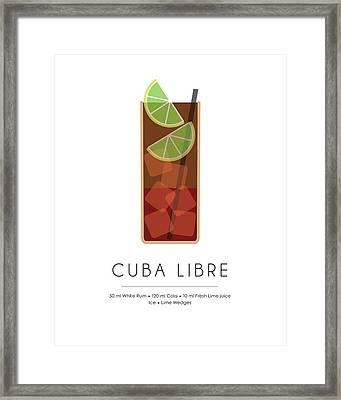 Cuba Libre Classic Cocktail - Minimalist Print Framed Print
