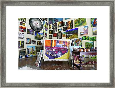 Cuba One Artists Studio Framed Print by Wayne Moran