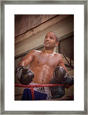 Framed Print featuring the photograph Cuban Boxer Ready For Sparring by Joan Carroll