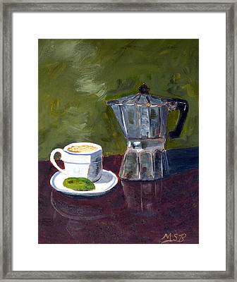 Cuban Coffee And Lime Green Framed Print by Maria Soto Robbins