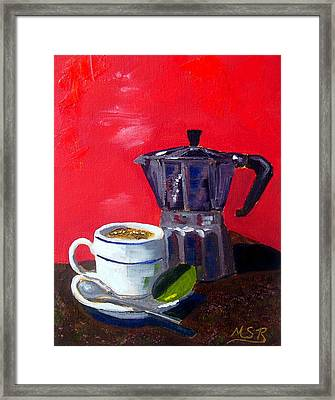 Cuban Coffee And Lime Red Framed Print by Maria Soto Robbins