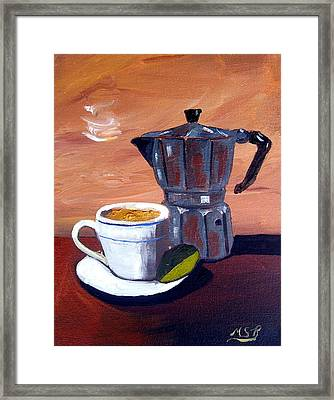 Cuban Coffee And Lime Tan Right Framed Print by Maria Soto Robbins