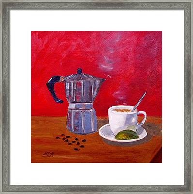 Cuban Coffee Beans And Lime Framed Print by Maria Soto Robbins