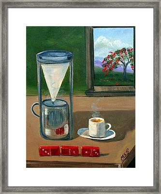 Cuban Coffee Dominos And Royal Poinciana Framed Print by Maria Soto Robbins