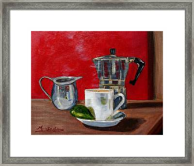 Cuban Coffee Lime And Creamer Framed Print by Maria Soto Robbins