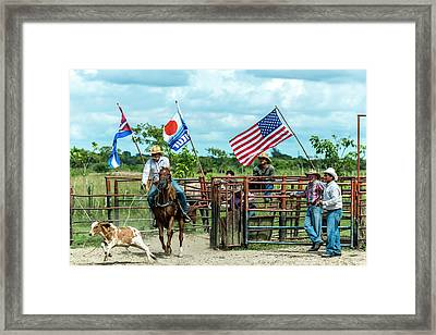 Framed Print featuring the photograph Cuban Cowboys by Lou Novick