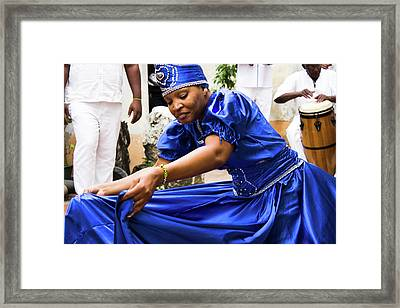 Cuban Folkloric Dancer In Blue Framed Print