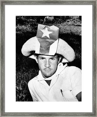 Cuban Patriot Wearing A Flag Decorated Framed Print by Everett