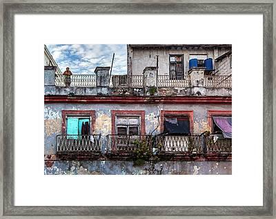 Framed Print featuring the photograph Cuban Woman At Calle Bernaza Havana Cuba by Charles Harden