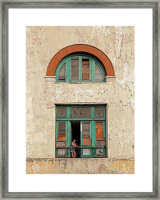 Framed Print featuring the photograph Cuban Woman On San Pedro Balcony Havana Cuba by Charles Harden